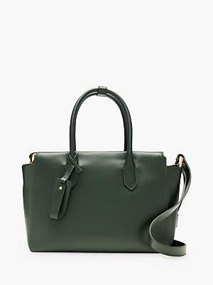 J.Crew Cont Leather Cross Body Bag, Green Emerald