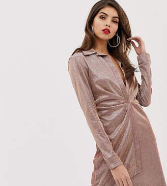 Asos Design DESIGN sparkle sexy drape bodycon shirt dress