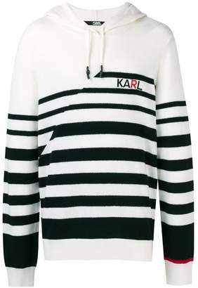 Karl Lagerfeld striped knitted logo hoodie