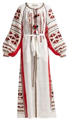 Vita Kin - Chestnut Blossoms Embroidered Linen Maxi Dress - Womens - White Multi