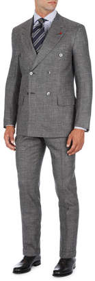 Isaia Double-Breasted Two-Piece Suit in Micro Check