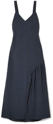 Tibi Asymmetric Gingham Seersucker Midi Dress - Navy