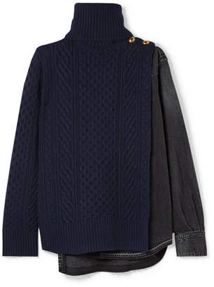 Sacai Cable-knit Wool And Denim Turtleneck Sweater - Midnight blue