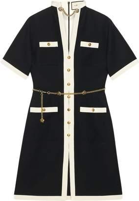 Gucci Short wool silk dress with chain belt
