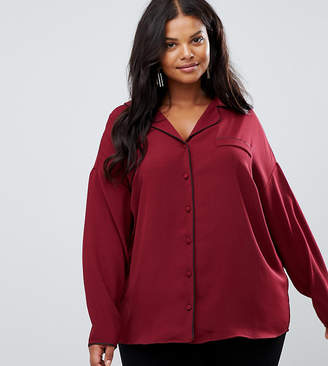 Asos DESIGN Curve pyjama long sleeve shirt with piping