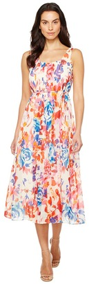 Donna Morgan - Pleated Front Chiffon Midi Dress Women's Dress $128 thestylecure.com