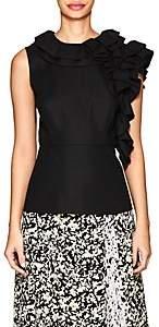 Co Women's Ruffled Wool-Blend Twill Top-Black