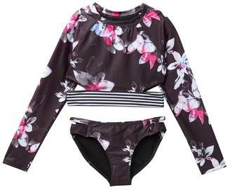 0b356e476f Zella Z by Long Sleeve Rash Guard Swimsuit 2-Piece Set (Big Girls)