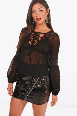 boohoo Katie Lace Up Lace Top