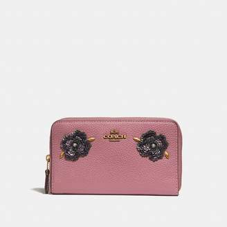 Coach Medium Zip Around Wallet With Leather Sequin Applique