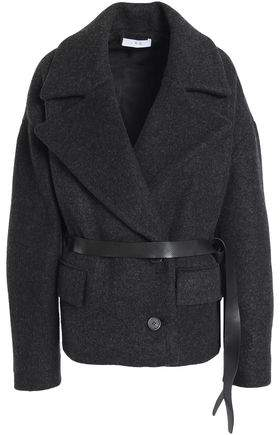 Double-Breasted Brushed Wool-Blend Coat