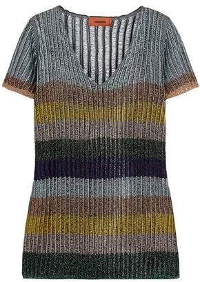Missoni Striped Metallic Ribbed-Knit Top