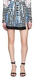 Versace Women's Harlequin-Print Pleated Silk Miniskirt - Blue