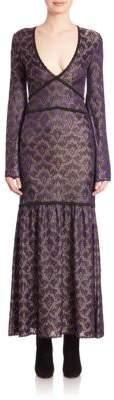 Roberto Cavalli Long-Sleeve Metallic Knit Gown