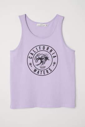 H&M Tank Top with Printed Motif - Purple