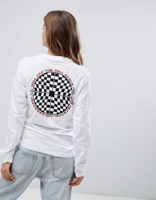 Vans Checkered Back Print Long Sleeve T-Shirt In White