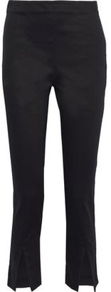 Frame Split-front Cotton-blend Slim-leg Pants