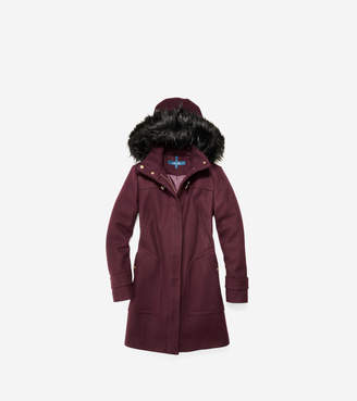 Cole Haan Wool Twill Hooded Duffle Coat