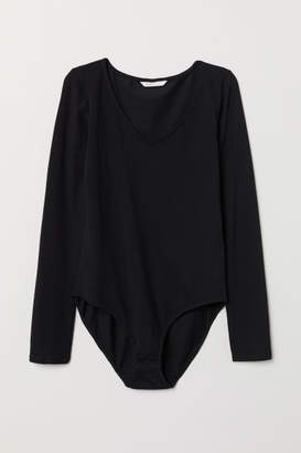 H&M V-neck Bodysuit - Black