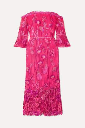 Marchesa Off-the-shoulder Guipure Lace Dress - Fuchsia