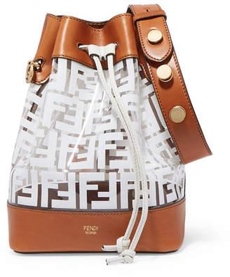 Fendi Mon Trésor Medium Printed Pvc And Leather Bucket Bag - White