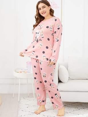 Shein Plus Rabbit Print Polka Dot Pajama Set