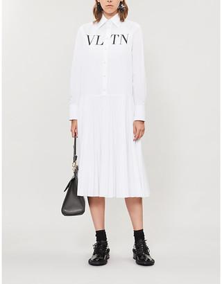 Valentino Logo-print loose-fit cotton-poplin midi shirt dress