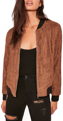Missguided Faux Suede Bomber Jacket $72 thestylecure.com