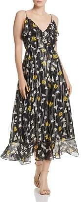 Joie Kenny Silk Blend Floral Metallic Wrap Dress