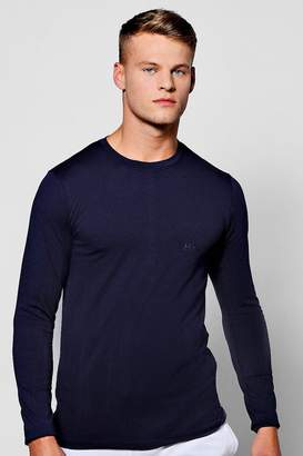 boohoo Long Sleeve Muscle Fit T-Shirt With Logo