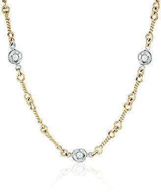 """Roberto Coin Tiny Treasures"""" Two tone Bezel Set Diamond on Twisted Link Chain Choker Necklace"""