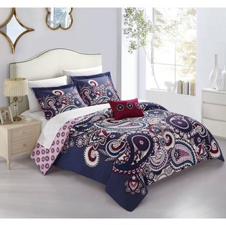 Mariko Chic Home 4 Piece Reversible Duvet Cover Set Bohemian Inspired Paisley Print with Contemporary Geometric Patterned Backing Zipper Closure Bedding with Decorative Shams, King Blue