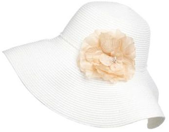 Off White Wide Brimmed Straw Hat