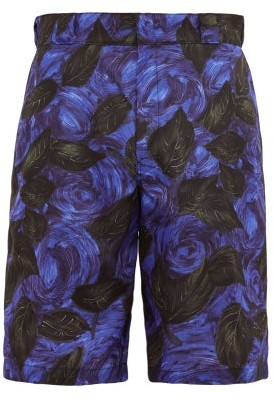 Prada Rose Print Faille Shorts - Mens - Black Purple