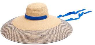 Lola Hats - Nomad Wide Brim Raffia Hat - Womens - Blue