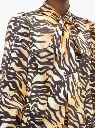 Shrimps Helen Tiger Print Tie Neck Silk And Cotton Blouse - Womens - Brown Multi