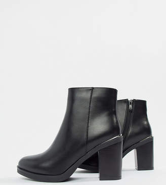 Raid Wide Fit RAID Wide Fit Lorena Black Plated Heeled Ankle Boots