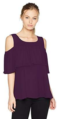 Star Vixen Women's Petite Off/Cold Shoulder Dramatic Ruffle Peasant Top