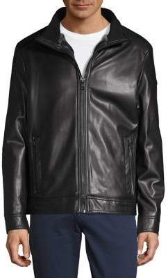 Calvin Klein Faux Shearling-Lined Faux Leather Jacket