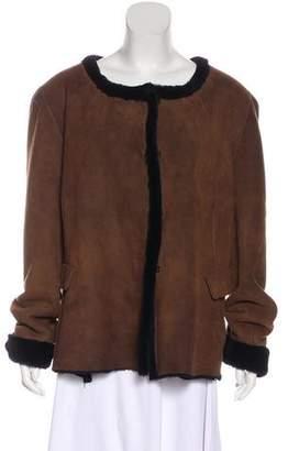 Oscar de la Renta Fur-Lined Suede Jacket