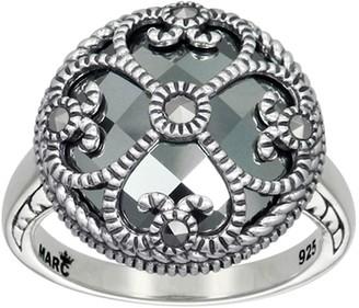 ING Suspicion Sterling Marcasite & Hematite Round Ring