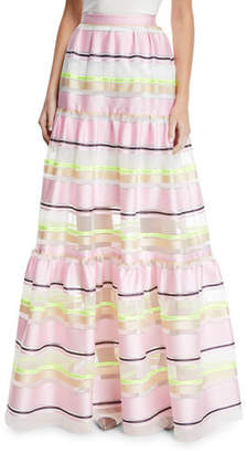 DELPOZO Striped-Organza Tiered Maxi Skirt
