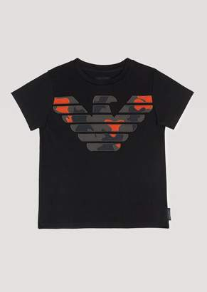 Emporio Armani Cotton Jersey T-Shirt With Camouflage Logo