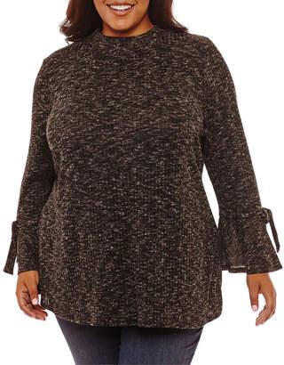 Boutique + + Long Sleeve Mock Neck Blouse - Plus