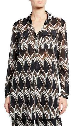 St. John Abstract Floral Tile-Print Button-Down Long-Sleeve Georgette Tunic
