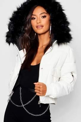 boohoo Petite Luxe Faux Fur Hood Cropped Coat