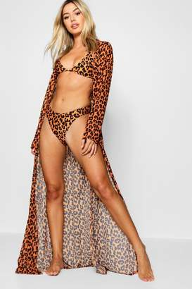 boohoo Petite Bright Animal Print Maxi Dress Beach Cover Up