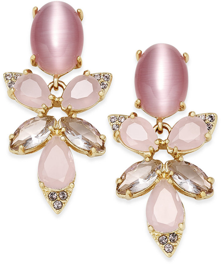 Kate Spade kate spade new york 14k Gold-Plated Pink Stone Crystal Cluster Drop Earrings