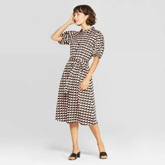 Who What Wear Women's Puff Short Sleeve Collared Front Button-Down Midi Wrap Dress - Who What WearTM