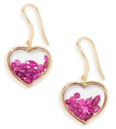 Aurelie Bidermann Aurelie Bidermann Chivor Heart Ruby & 18K Yellow Gold Earrings